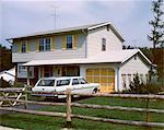 1960s - 1970s  SUBURBAN HOME TWO STORY WITH STATION WAGON IN DRIVEWAY Stock Photo - Premium Rights-Managed, Artist: ClassicStock, Code: 846-05646701