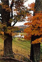 AUTUMN LANDSCAPE WITH NEW ENGLAND VILLAGE WAITS RIVER VERMONT Stock Photo - Premium Rights-Managednull, Code: 846-05647172
