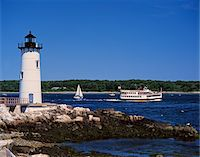 1990s LIGHTHOUSE SAIL AND FERRY BOAT NEW CASTLE MAINE Stock Photo - Premium Rights-Managednull, Code: 846-05647173