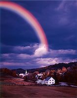 RAINBOW IN STORMY SKY OVER EAST CORINTH VT Stock Photo - Premium Rights-Managednull, Code: 846-05647181