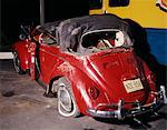 1960s RED VOLKSWAGEN BUG BEETLE CONVERTIBLE CAR WRECK CRASH WRECKED RUIN DAMAGE AUTOMOBILE ACCIDENT