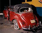 1960 1960s RED VOLKSWAGEN BUG BEETLE CAR CONVERTIBLE WRECK CRASH CRASHED WRECKED WRECKS RUIN DAMAGE RETRO ACCIDENT