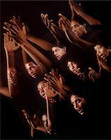1960s - 1970s MONTAGE MULTIPLE EXPOSURE AFRICAN AMERICAN CHORUS FACES ARMS HANDS GOSPEL SINGERS SINGING Stock Photo - Premium Rights-Managednull, Code: 846-05647212