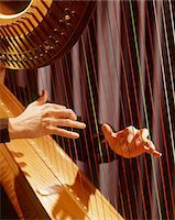 1960s MUSICAL INSTRUMENT DETAIL HANDS PLUCKING PLAYING HARP STRINGS Stock Photo - Premium Rights-Managednull, Code: 846-05647248