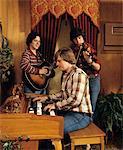 1980s - 1970s THREE YOUNG MEN PLAYING ORGAN VIOLIN AND GUITAR