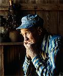 1990s PORTRAIT OF ELDERLY MAN IN BLUE AND WHITE STRIPED TRAIN ENGINEERS HAT Stock Photo - Premium Rights-Managed, Artist: ClassicStock, Code: 846-05647455