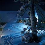 SNOW WINTER TIMBERLINE LODGE MOUNT HOOD OREGON MOUNTAIN AT NIGHT