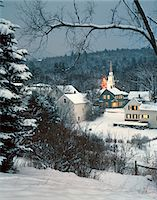 small town snow - 1980s WINTER SNOW COVERED HOUSES AND CHURCH WHITEFIELD NEW HAMPSHIRE USA Stock Photo - Premium Rights-Managednull, Code: 846-05647584