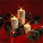 2000s CHRISTMAS STILL LIFE WITH BARK COVERED CANDLES AND GREENS Stock Photo - Premium Rights-Managed, Artist: ClassicStock, Code: 846-05647599
