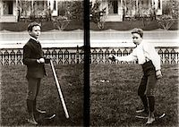 1890s - 1900s TWO IMAGES OF BOY IN KNICKERS HOLDING BASEBALL BAT AND PITCHING BALL Stock Photo - Premium Rights-Managednull, Code: 846-05647769