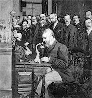 1890s ENGRAVING OF ALEXANDER GRAHAM BELL MAKING FIRST LONG DISTANCE TELEPHONE CALL FROM NEW YORK TO CHICAGO IN 1892 Stock Photo - Premium Rights-Managednull, Code: 846-05648014