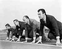 1960s FOUR BUSINESSMEN ON THE STARTING LINE Stock Photo - Premium Rights-Managednull, Code: 846-05648237
