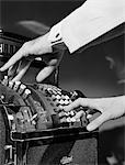1930s MAN'S HANDS PUSHING BUTTONS ON CASH REGISTER Stock Photo - Premium Rights-Managed, Artist: ClassicStock, Code: 846-05648403