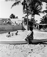 1930s WOMAN WATCHING CHILDREN PLAYING IN KIDDY POOL Stock Photo - Premium Rights-Managednull, Code: 846-05648419