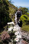 Female hiker on Echo Valley trail, near Kalk Bay, Cape Town, Western Cape Province, South Africa