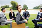 Business people having meeting outdoors Stock Photo - Premium Royalty-Free, Artist: Arcaid, Code: 635-05651464