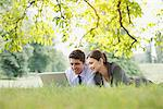 Business people laying in grass using laptop Stock Photo - Premium Royalty-Freenull, Code: 635-05651488