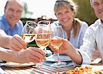 Portrait of smiling senior couples toasting wine glasses at table in sunny garden Stock Photo - Premium Royalty-Freenull, Code: 635-05656210