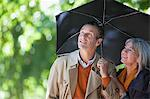 Couple under umbrella looking up Stock Photo - Premium Royalty-Free, Artist: AWL Images, Code: 635-05656350