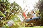 Mother and daughter on swing in sunny park Stock Photo - Premium Royalty-Freenull, Code: 635-05656504