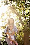 Mother pushing daughter on swing in sunny park Stock Photo - Premium Royalty-Freenull, Code: 635-05656505