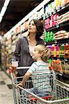Woman grocery shopping with son Stock Photo - Premium Royalty-Free, Artist: Masterfile, Code: 649-05657461