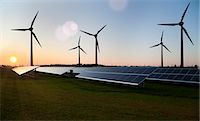 solar power - Wind turbines and solar panels in field Stock Photo - Premium Royalty-Freenull, Code: 649-05657730