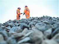 piles of work - Workers standing on quarry rock pile Stock Photo - Premium Royalty-Freenull, Code: 649-05657991