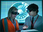 Scientists wearing 3D glasses in lab Stock Photo - Premium Royalty-Free, Artist: Michael Mahovlich, Code: 649-05658038