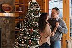 Mature couple dancing by Christmas tree Stock Photo - Premium Royalty-Freenull, Code: 614-05662340