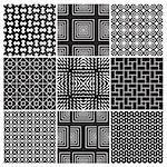 set of 9 seamless monochrome patterns, perfectly tile-able both horizontally and vertically; scalable and editable vector illustration (eps); Stock Photo - Royalty-Free, Artist: milalala                      , Code: 400-05663279