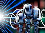 Music illustration with retro microphone and bulb lights Stock Photo - Royalty-Free, Artist: carloscastilla                , Code: 400-05663869