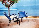 Detail of modern garden chairs with little tree Stock Photo - Royalty-Free, Artist: carloscastilla                , Code: 400-05663879