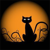 Spooky scary halloween cat with moon Stock Photo - Royalty-Freenull, Code: 400-05664500