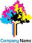 Illustration art cmyk tree with isolated background Stock Photo - Royalty-Free, Artist: designersamy                  , Code: 400-05665571