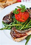 porterhouse juicy steak with fresh green beans Stock Photo - Royalty-Free, Artist: ilolab                        , Code: 400-05665645