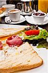 Breakfast with coffee and fresh Toast on table Stock Photo - Royalty-Free, Artist: ilolab                        , Code: 400-05665659