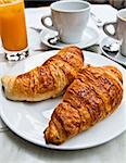 Breakfast with coffee and croissants on table Stock Photo - Royalty-Free, Artist: ilolab                        , Code: 400-05665665