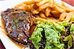 juicy steak beef meat with tomato and french fries Stock Photo - Royalty-Free, Artist: ilolab                        , Code: 400-05665687