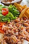 Fresh salmon salad with tomatoes to be eaten Stock Photo - Royalty-Free, Artist: ilolab                        , Code: 400-05665694