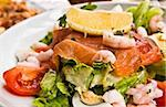 Fresh salmon salad with tomatoes to be eaten Stock Photo - Royalty-Free, Artist: ilolab                        , Code: 400-05665695