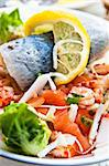 Fresh salmon salad with tomatoes to be eaten Stock Photo - Royalty-Free, Artist: ilolab                        , Code: 400-05665715