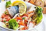 Fresh salmon salad with tomatoes to be eaten Stock Photo - Royalty-Free, Artist: ilolab                        , Code: 400-05665716