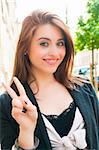 happy outdoor portrait of smiling charming young woman Stock Photo - Royalty-Free, Artist: ilolab                        , Code: 400-05665723