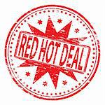 "Rubber stamp illustration showing ""RED HOT DEAL"" text. Also available as a Vector in Adobe illustrator EPS format, compressed in a zip file"