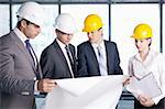 Business people in hard hats at construction site Stock Photo - Royalty-Free, Artist: Deklofenak                    , Code: 400-05669049