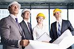 Business people in hard hats looking up at the site Stock Photo - Royalty-Free, Artist: Deklofenak                    , Code: 400-05669053