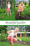 Collage. Beautiful casual woman gardening Stock Photo - Royalty-Free, Artist: smartfoto                     , Code: 400-05669106