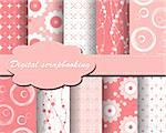 set of vector flower paper for scrapbook Stock Photo - Royalty-Free, Artist: Mary1507                      , Code: 400-05669136