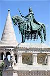 Saint Istvan statue and fisherman's bastion in Budapest, Hungary Stock Photo - Royalty-Free, Artist: vladacanon                    , Code: 400-05669183